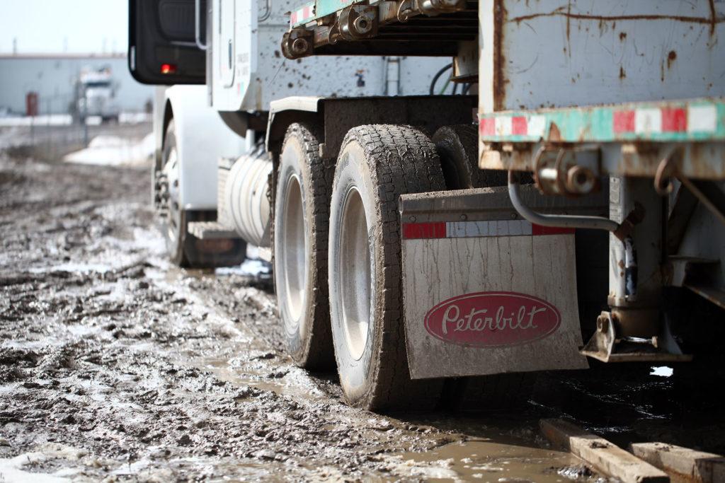 Peterbuilt Semi in Mud Oilsands Alberta