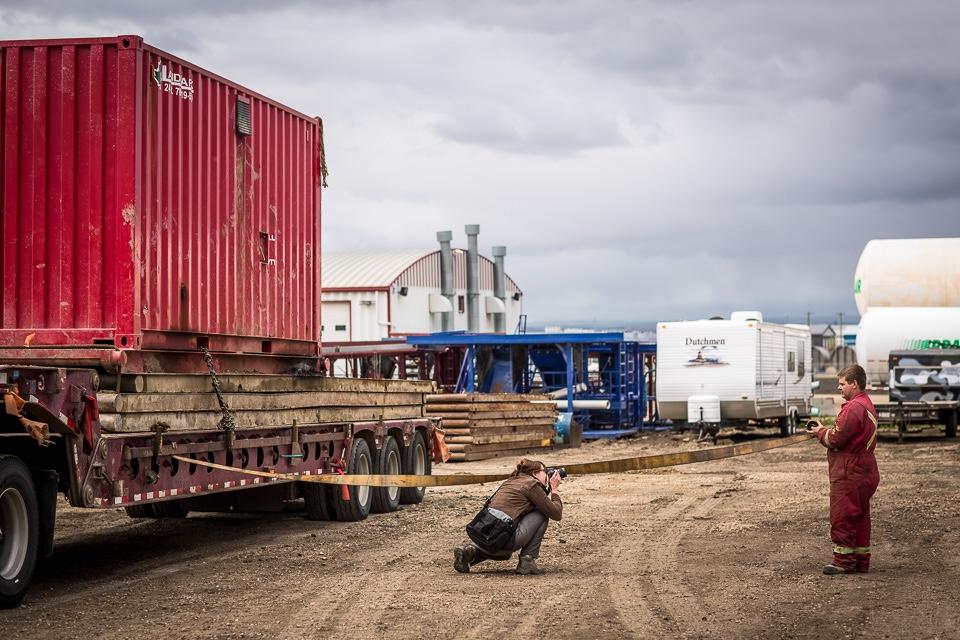 Low bed trucker in Alberta oilfield